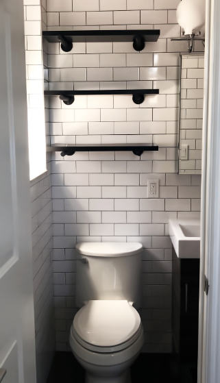 Open shelving will help your small bathroom feel more airy. Use small bins or baskets to hide items you don't want to see.
