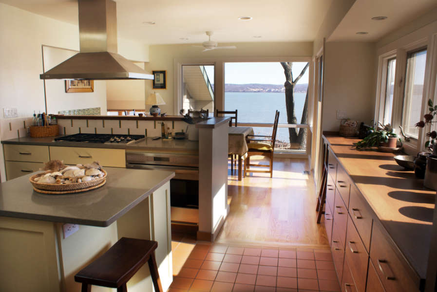 Kitchen in Nyack NY with Hudson River View